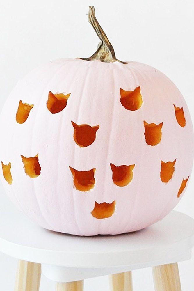 Cute Cats Pumpkin Carving Ideas #catcarving
