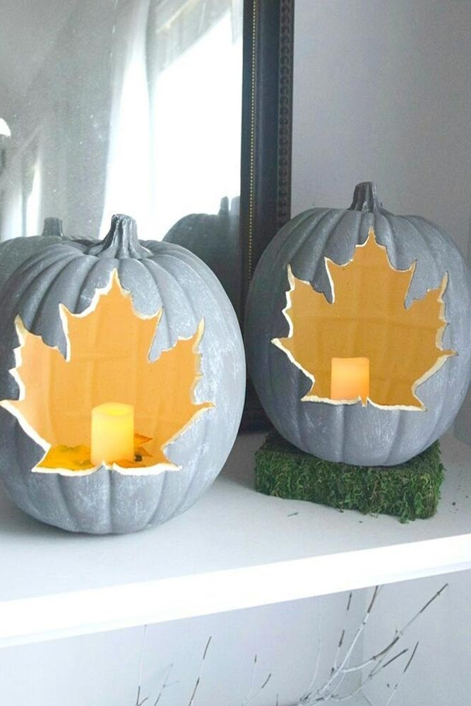 Leaves Pumpkin Carving Idea #leavescarving