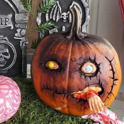 Zombie Pumpkin Carving Idea #zombie #monster