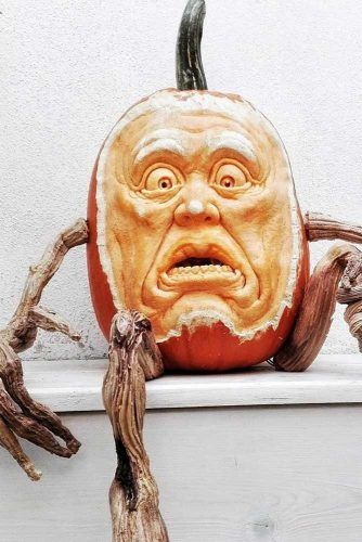 Scary Face Pumpkin Carving Idea #scaryface