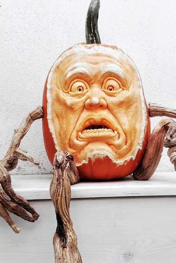 Scary Face Pumpkin Carving Idea #scaryface