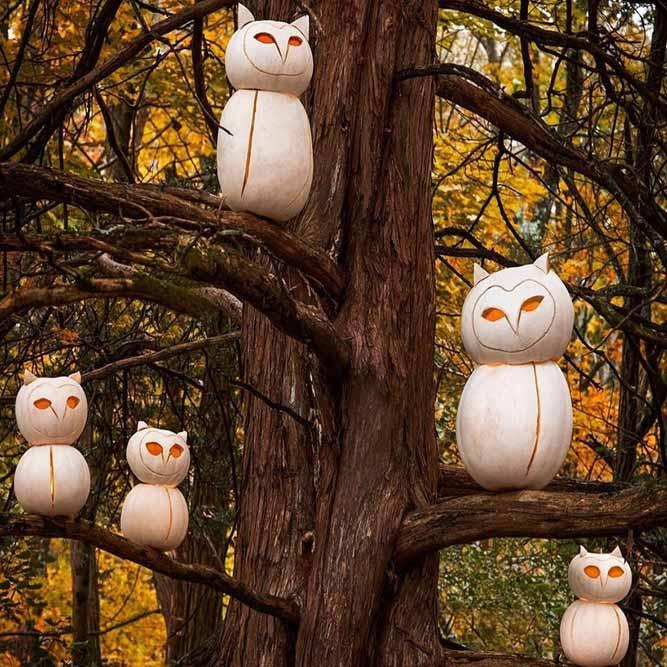 Treeful Of Sharp-eyed Owls #owlcarvingidea