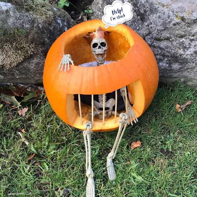 Skeleton In The Pumkin Prison Carving Idea #skeleton