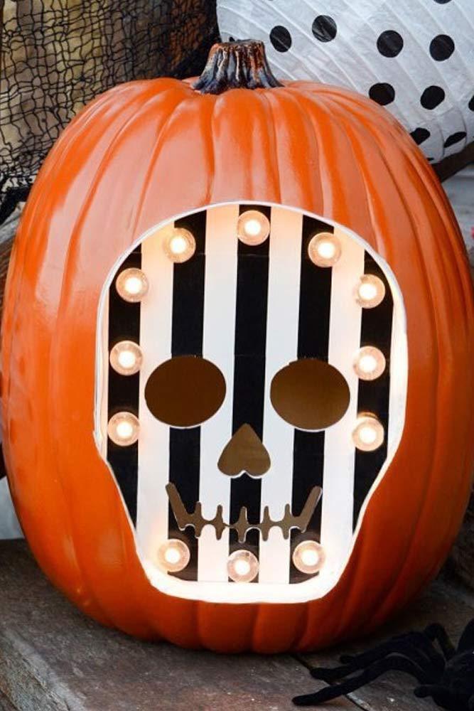 Skeleton Pumpkin Carving Idea #skeletonpumpkin
