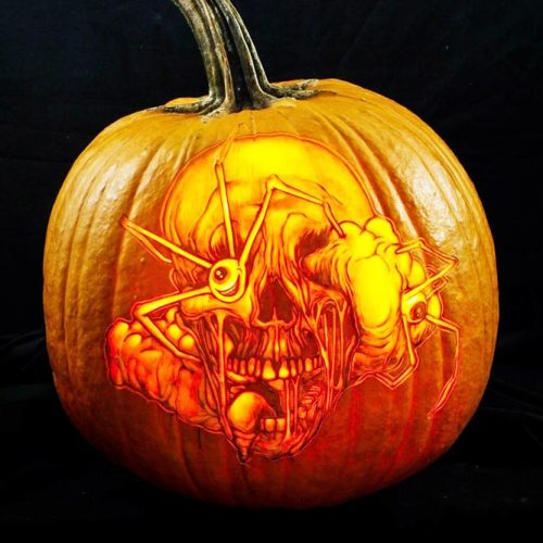 Scary Skull And Spider Carving Pumpkin Idea