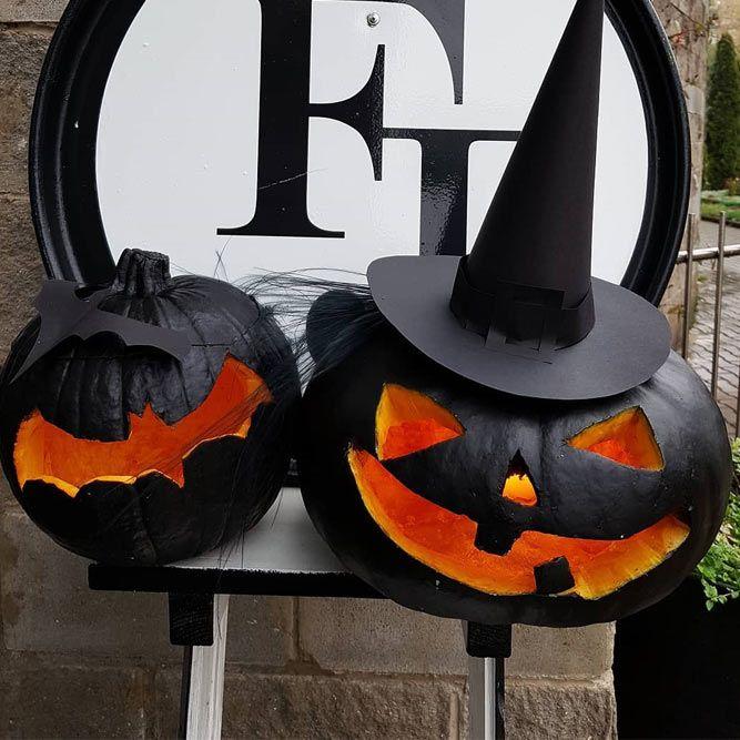 Black Pumpkin Carving Ideas #bats #witch