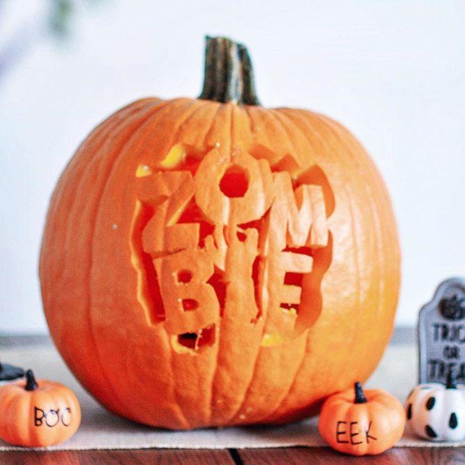 Zombie Pumpkin Carving Idea #pumpkinlettering