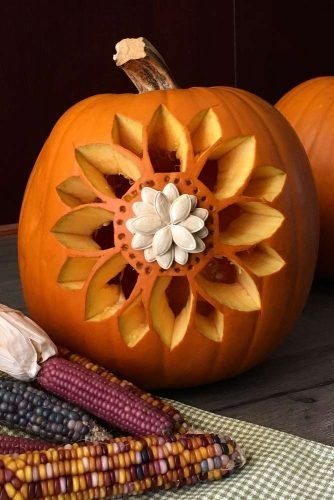 Sunflower Pumpkin Carving Idea #floralcarving