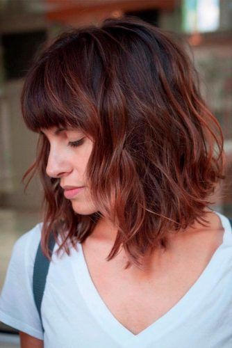 Wavy Lob With Bang #lobhairstyles #wavyhairstyles