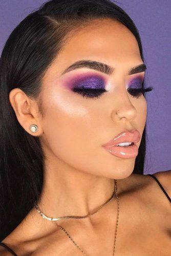 Glitter Smokey Eyes Makeup #glittershadow #nudelips