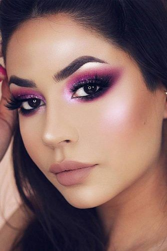 Night Makeup Idea With Purple Eyes Makeup #nudemattelips
