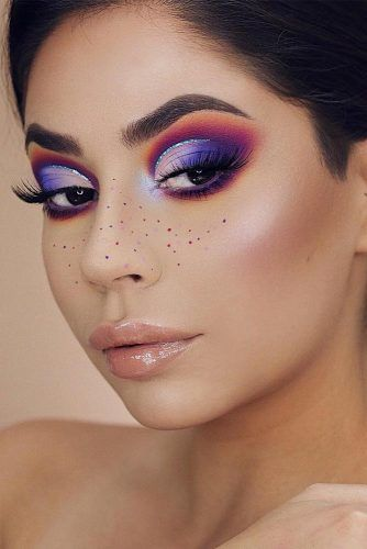 Ombre Purple Eyes Makeup #nudelips