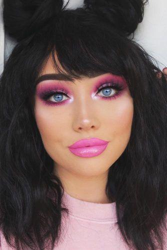 Pink And Purple Smokey Eyes #pinklips