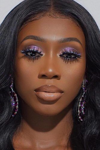 Purple Smokey Eyes With Glitter Line #darkskintone
