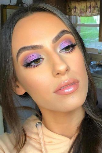 Purple Soft Smokey Eyes Makeup #lipgloss