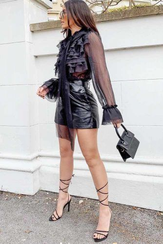 Black Leather Shorts With Blouse Outfit Idea #leathershorts