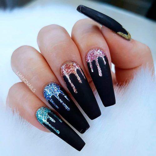 Colorful Glitter Nail Design #mattenails #blacknails