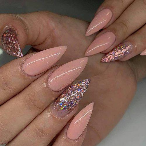 Shiny Nude Nail Design #nudenails #shinynails