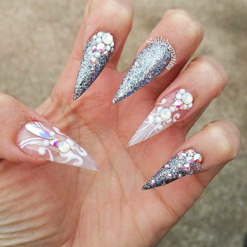 Sparkly Fall Nail Designs for a Stiletto Shape Picture 4