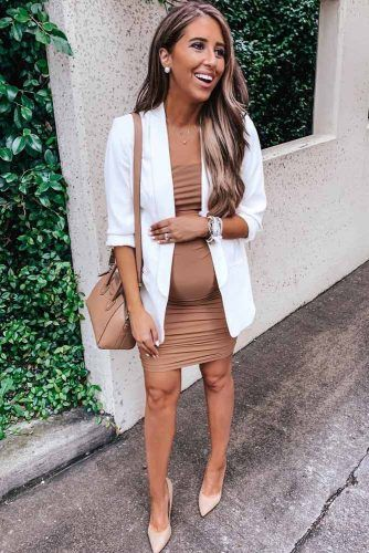Bodycon Dress With White Jacket Outfit #nightoutoutfit