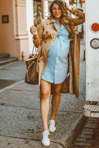 Denim Dress With Camel Trench Outfit #trench #bumpstyle