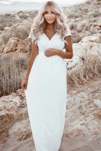 White Boho Maxi Maternity Dress #maternitydress