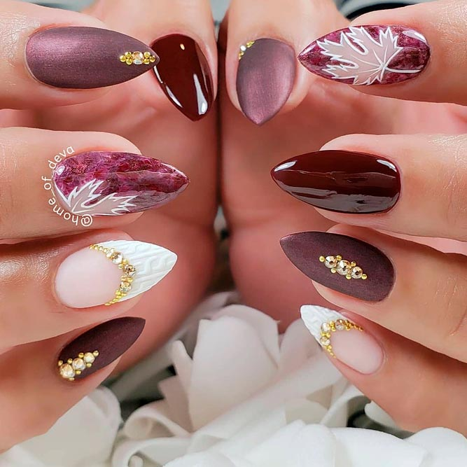 Creative Fall Nail Art #burgundynails #rhinestonesnails