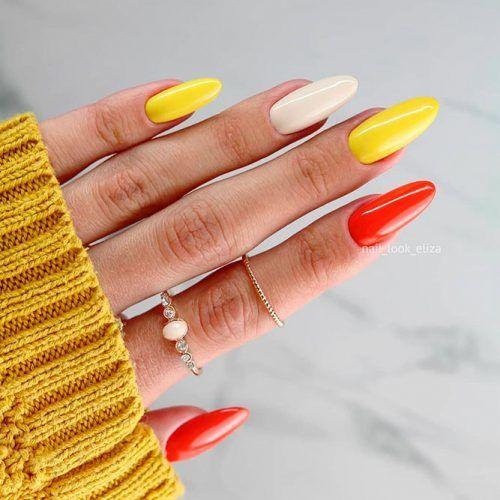 Candy Corn Nails Colors #fallnails