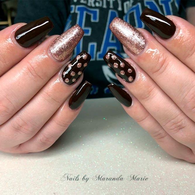 Glitter Dots Nail Art #fallnails #glitternails