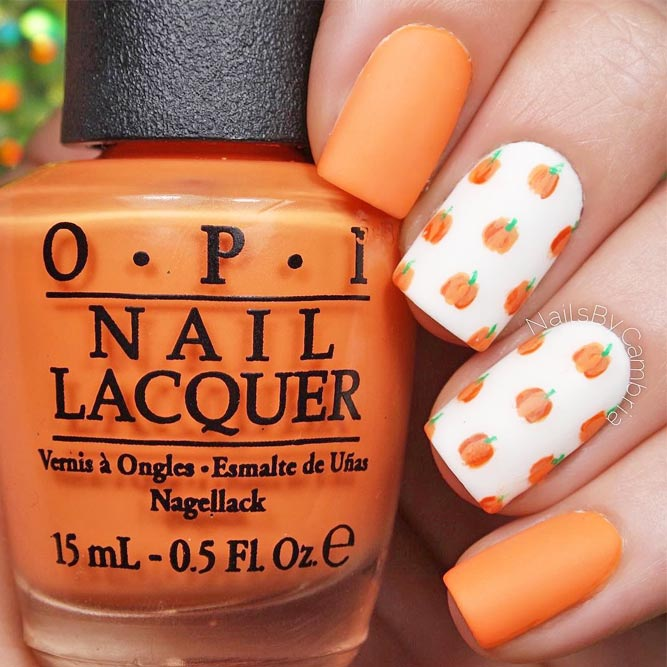 Cute Fall Nails Designs with Pumpkins picture 6