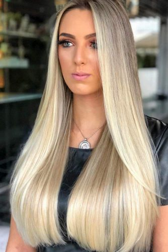 Long Straigth Hair With Blonde Color #blondehair