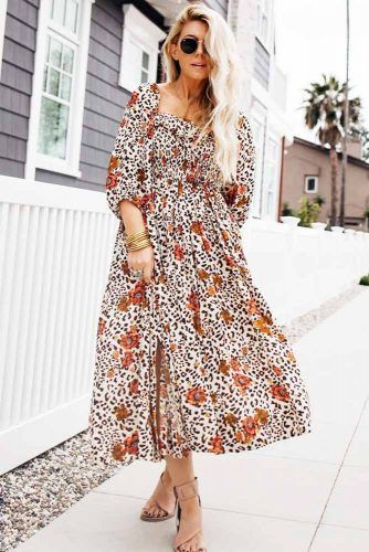 Midi Floral Casual Dress Design #floralprint