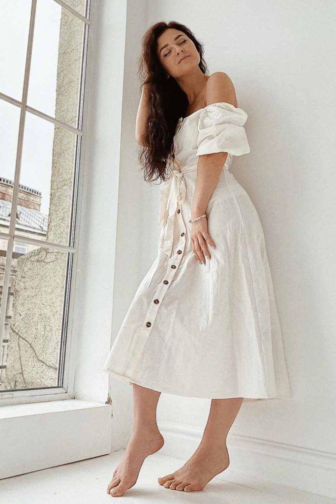 White Off The Shoulder Dress Design #offtheshoulderdress