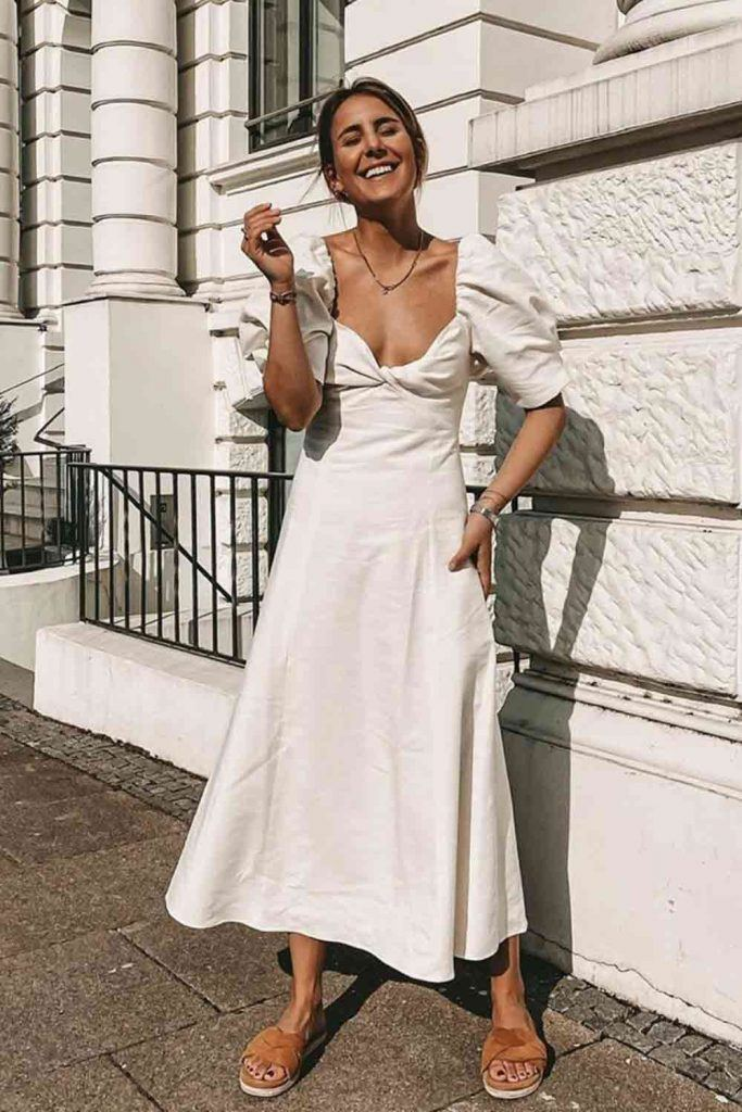 Neck Opened White Midi Dress #mididress
