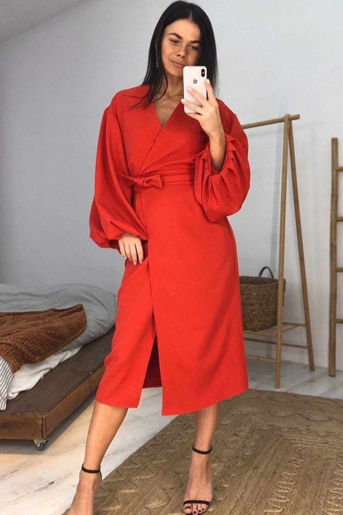 Casual Red Dress With Long Sleeves #longsleevesdress