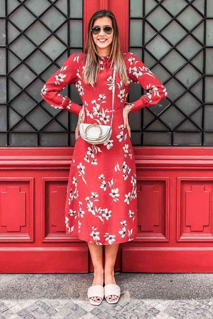 Floral Print Red Dress Design #floraldress