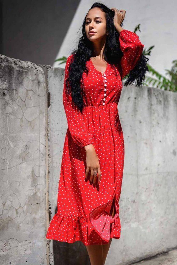 Polka Dots Red Dress Design #polkadotsdress