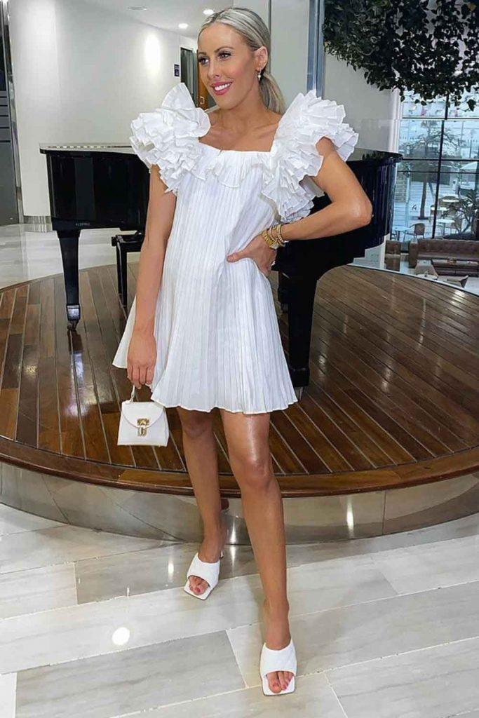 Short White Dress Design With Ruffled Sleeves #ruffleddress