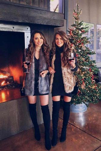 Christmas Outfits With Fur Vest #furvest #otkboots