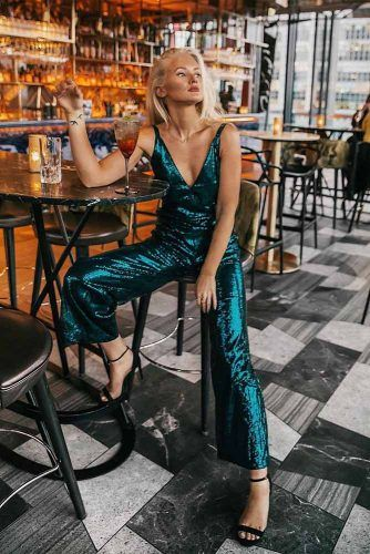 Green Metallic Jumpsuit #jumpsuit #greenjumpsuit