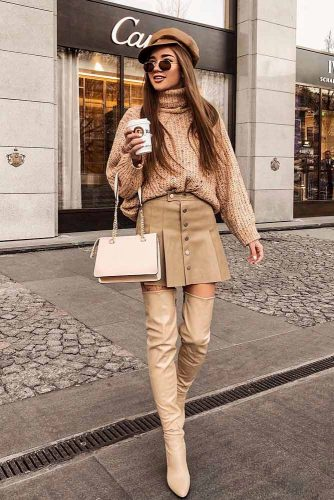 Beige Christmas Outfits With OTK Boots #otkboots