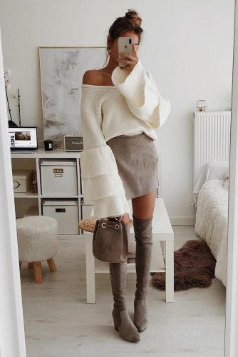 Christmas Outfits Idea For Perfect Look #otkboots #skirt