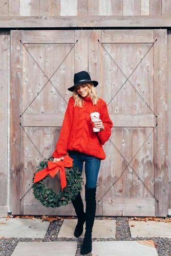 Classic Christmas Outfit With Red Sweater #redsweater #christmaslook