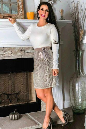 Sweater And Sequin Silver Skirt #skirt #sequinskirt