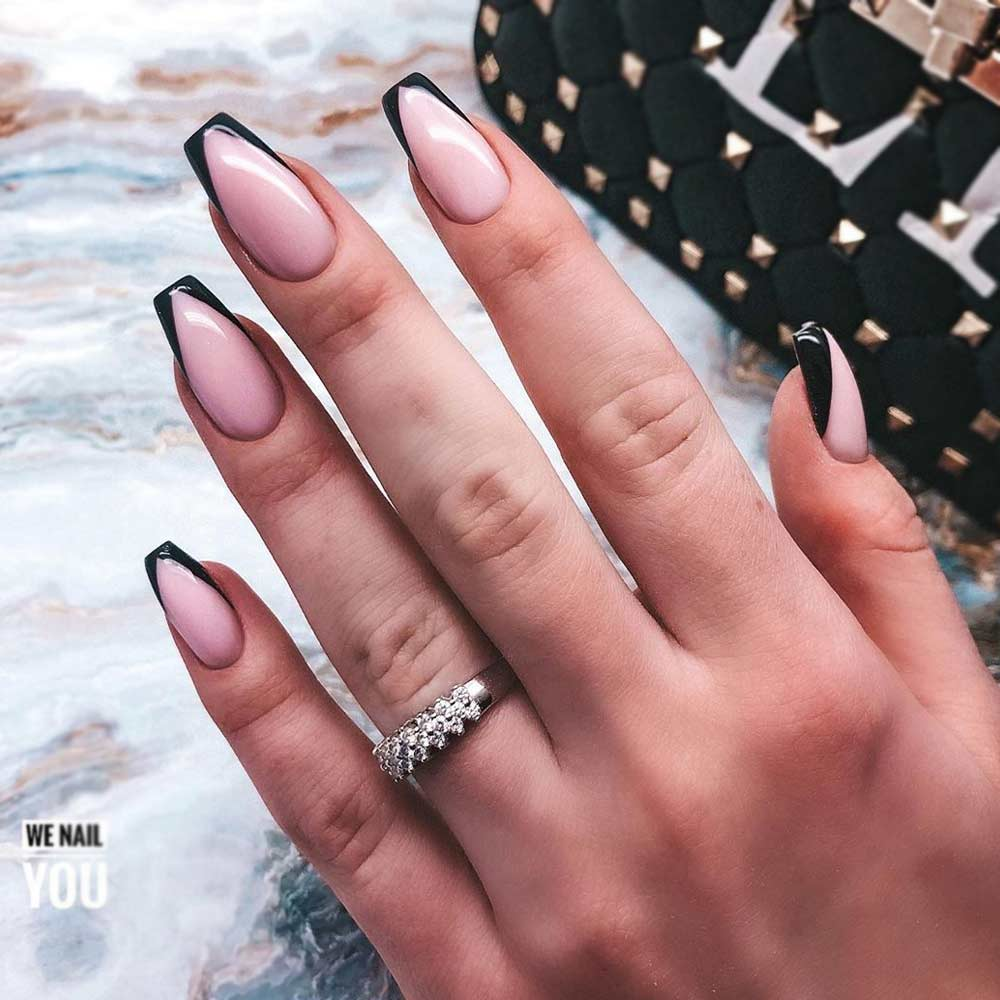 Black French Coffin Nails