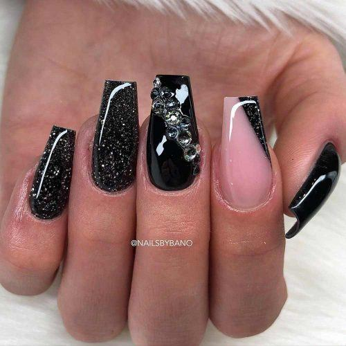 Black Glitter Coffin Nails With Crystal Accent