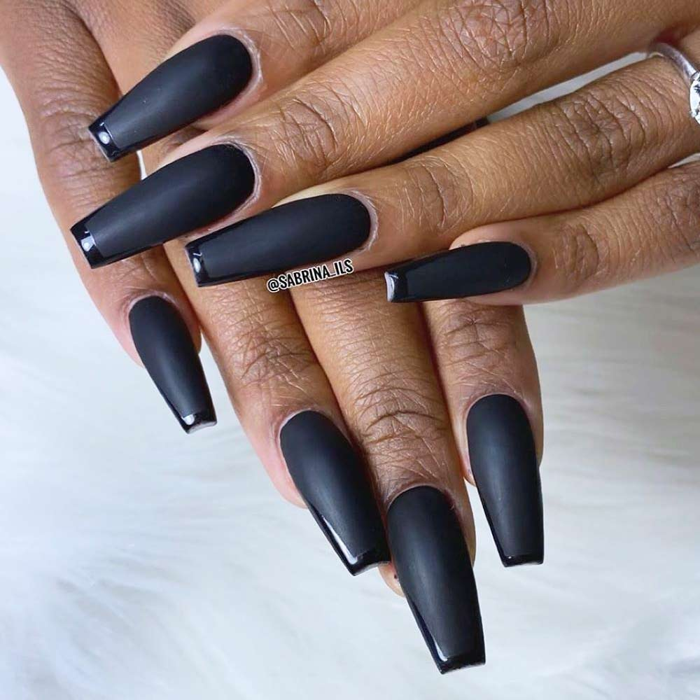 Black Matte Coffin Nails With French Art #blackfrench