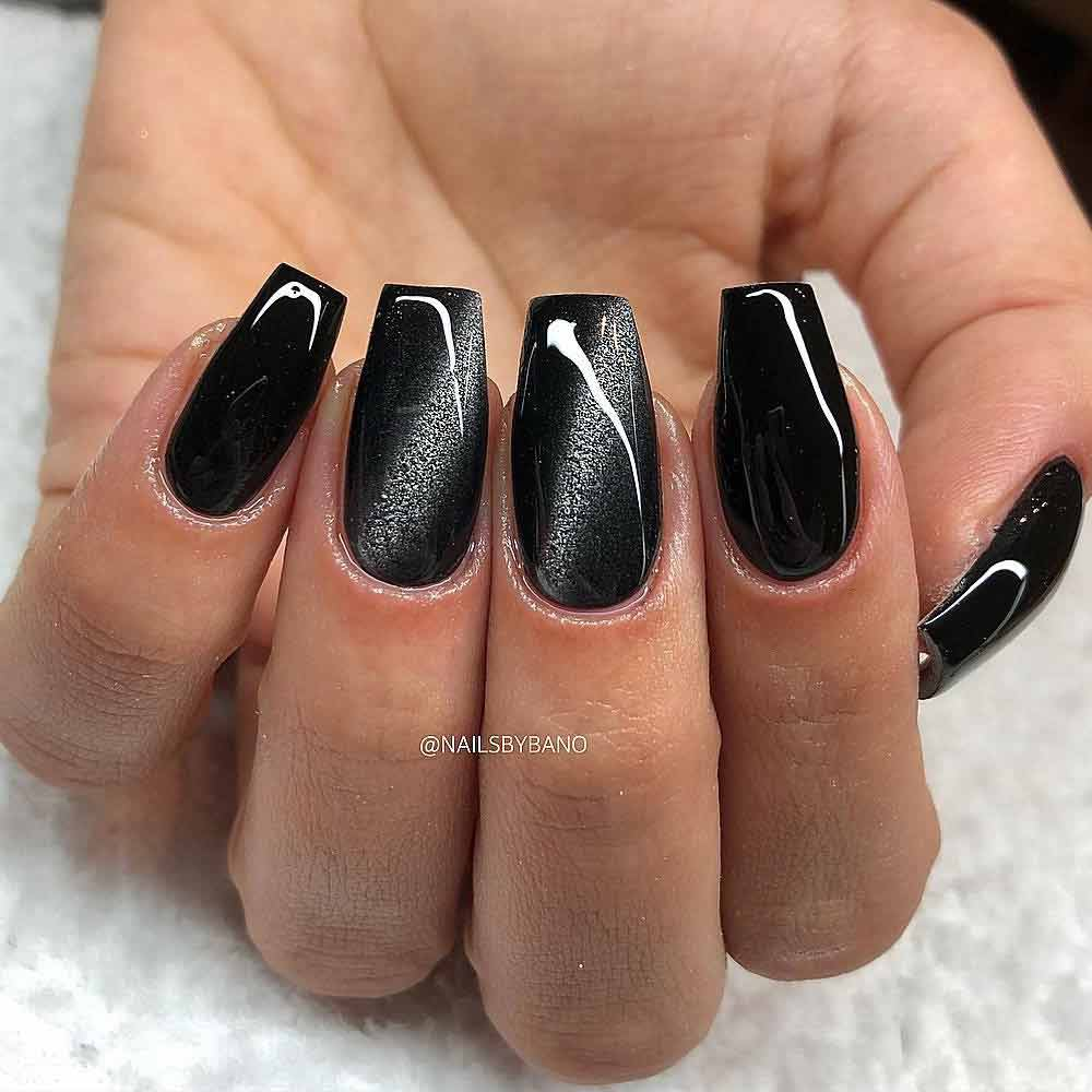 Black Coffin Nails WIth Cat Eye Accent #cateyeart