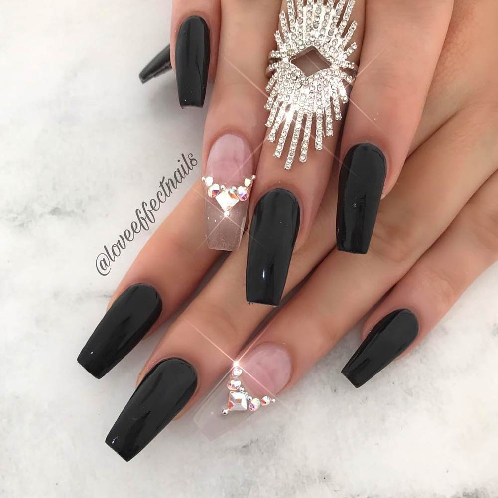 Hot Black Coffin Nails