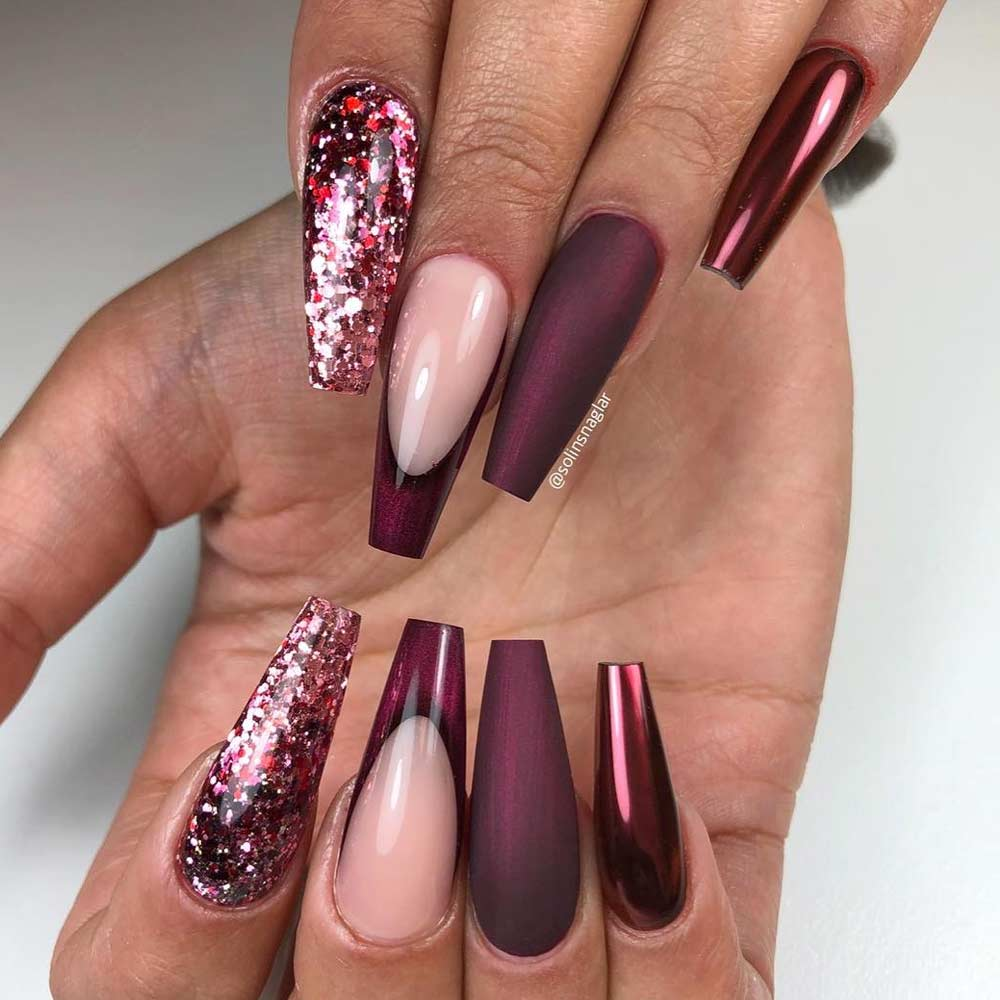 Beauty Burgundy Coffin Nails Designs